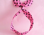 Dolly Bow Headwrap- Black Polka Dots on Hot Pink
