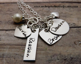 personalized jewelry-sterling silver-handstamped mommy necklace-charm necklace-3 children-pearl-multi shape charms