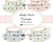 Shabby Chintz Tea Cup Graphics Instant Download