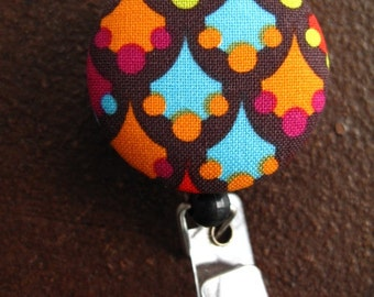 Clip On Retractable Badge Reel / Lanyard with Fabric Covered Button - Colorful Diamonds with Dots