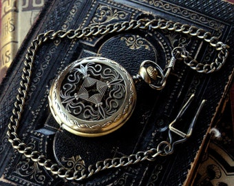 Brass Mechanical Pocket Watch 9 -on Fob or Necklace
