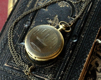 Brass Mechanical Pocket Watch 11 -on Fob or Necklace