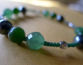 Faceted Emeralds jade and gunmetal pearl hope cancer awareness bracelet- 100% donation