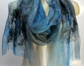 Felt Scarf-Shawl sheer cashmere-soft merino wrap on painted silk - Blue Black