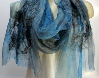 Winter Blues Felt Scarf-Shawl sheer cashmere-soft merino wrap on painted silk - Blue Black