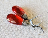 Wrapped Red Teardrop Earrings