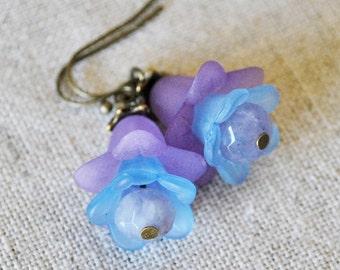 Purple Flower Earrings with Gemstones