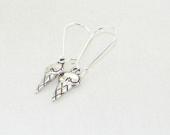 Silver ice cream cone charm dangle earrings, summer, fun, jewelry