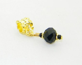 Handmade black faceted glass dangle charm bead for European bracelets and necklaces