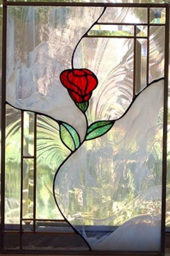 Panneau de fen tre vitrail custom for Art nouveau fenetre