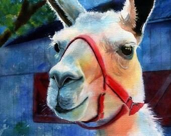 Llama farm art Print of my watercolor painting