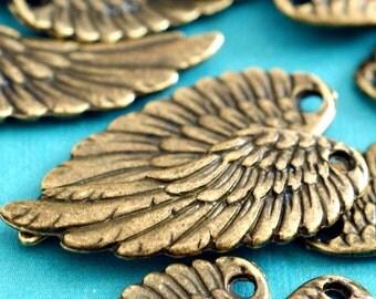 Sale Lead Free 20pcs Antique Bronze Angel Wing Pendants A19214-AB-FF