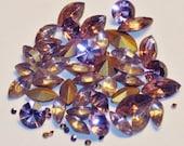 Lot of 50 vintage Czech Glass Rhinestones AMETHYST COLOR MIX Marquise, Navette, round, chaton, Lavender Hues , Spring Pastel Colors. Destash