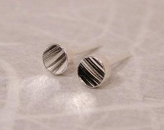 3mm Tiny Silver Studs Faux Bois Minimalist Wood Grain Earrings by SARANTOS