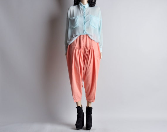 peach harem draped pants / cropped / s / m / maybe california pants