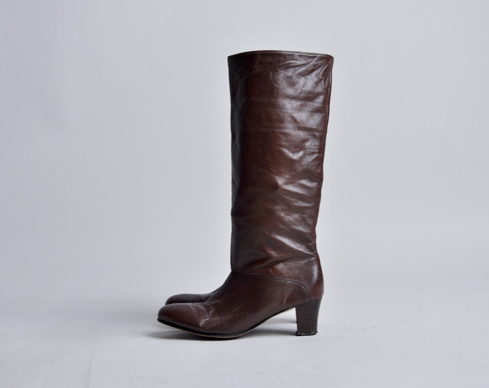 items similar to brown leather heel boots 7 5 n on etsy