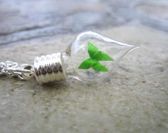Origami Spring Butterfly in a Bottle Necklace