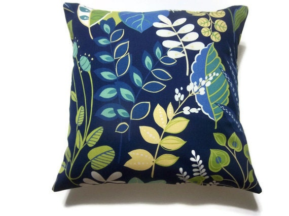 Navy Blue Decorative Bed Pillows: Decorative Pillow Cover Navy Blue Royal Blue Turquoise Yellow