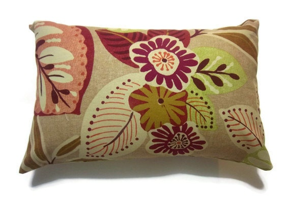 decorative pillow cover lumbar red brown green leaf handmade. Black Bedroom Furniture Sets. Home Design Ideas