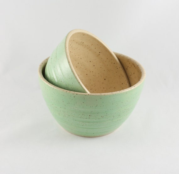 Green Stoneware Nesting Bowls, Set of 2, 50% Off Sale