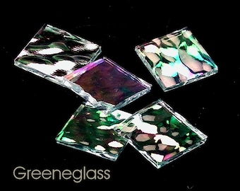 Clear Hammered Iridized Glass for Mosaics and Stained Glass - Med Pack - Diamond, Triangles, Rectangles, Squares, Strips