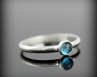 London blue topaz ring - recycled sterling silver ring with bezel set faceted gemstone, December birthstone
