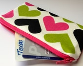 Zippered Coin Purse Wallet - Fabric Business Card Holder - Lime Green and Hot Pink Hearts