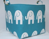 ELE ELEPHANT - Fabric Organizer Bin Toy Storage Container Basket - Choose the Fabric for the Outside and Inside - 10 x 10 x 10