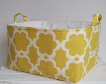 XLarge Diaper Caddy - Storage Container Organizer Bin Basket  - with dividers - Yellow Tarika Fabric - Nursery Baby Room Decor