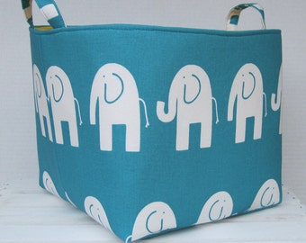 ELE ELEPHANT Fabric - Fabric Organizer Bin Toy Storage Container Basket - Choose the Fabric for the Outside/ Inside - 10 in x 10 in x 10 in