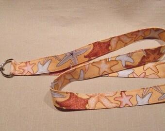Starfish - handmade fabric lanyard