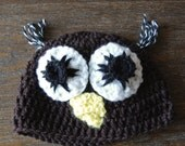 Baby Owl Hat - 3-6 Months