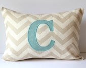 Monogram Initial Letter Pillow Cover. Accent Throw Pillows Applique. 12 x 16 Personalized Nursery Dorm Wedding Bridal Home Decor Monogrammed