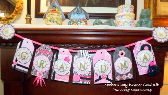 GRANDMA Mother's Day Banner Card KIT DIY Free Shipping