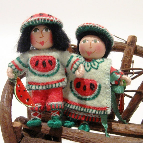 Miniature Art Dolls, Boy and Girl, Appliqued Watermelon, Hand Embroidered