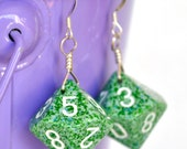 Dice Earrings - Green Speckled Ten Sided Dice d10 - Geeky Gamer Jewelry