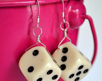 Dice Earrings - White d6 Six Sided Dice - Geeky Gamer Jewelry