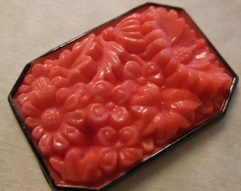 Vintage cabochon large Antique coral red carved pressed Czech 1939s octagon cab stone black edge 1.5 inch (1)