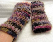 fm077 Hand Knit Multicolored Mohair  Fingerless Mittens /Texting Gloves  FREE SHIP USA
