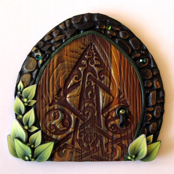 Celtic dew drop fairy door kids home decor wall art for Celtic decorations home