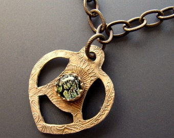Solid Bronze Textured Pendant with Dichroic Glass Gallery Bezel Set Cabochon on Vintaj Antiqued Brass Chain