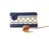 Navy Blue wedding lace clutch, Handmade Linen lace Clutch, purse, Bridesmaids clutches
