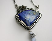Lapis Lazuli Kyanite Sterling Silver 14kt Necklace Cloud