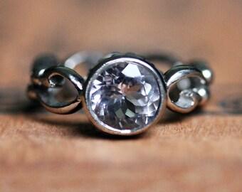 White gold morganite engagement ring, morganite ring white gold, pink morganite solitaire ring bezel engagement ring infinity custom wrought