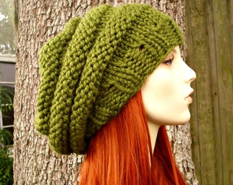 Oversized Olive Green Beret Knit Hat Womens Hat - Beehive Beret Green Knit Hat - Green Hat Green Beret Green Beanie Womens Accessories