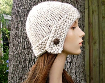 Knit Hat Womens Hat Knit Beanie  - Cloche Hat in Wheat Cream Knit Hat - Cream Hat Cream Beanie Wheat Hat Womens Accessories Winter Hat