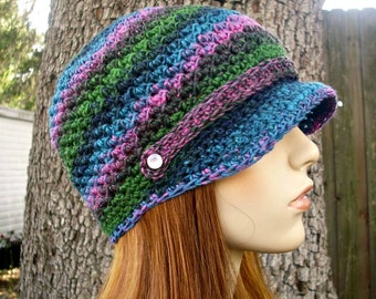 Instant Download Crochet Pattern - Newsboy Hat Pattern - Crochet Hat Pattern Chesapeake Beanie - Womens Hat Pattern - Womens Accessories