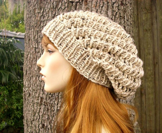 Spring Beret Knitting Pattern : Knit Hat Womens Hat Slouchy Beanie Spring Cyclone Beret in