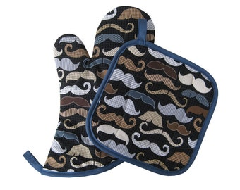 Mustache Oven Mitt and Pot Holder Set
