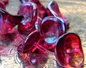 Fuchsia Iridescence (12) -Czech Glass Bell Flowers 9x12mm